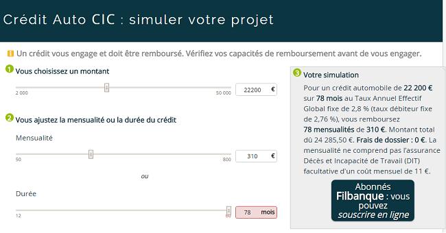 simulation de crédit CIC