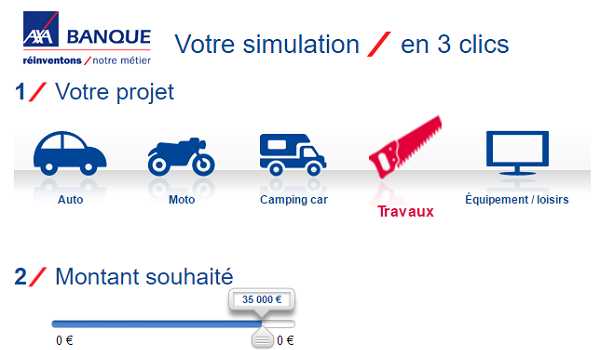 simulation pret Axa Banque en ligne