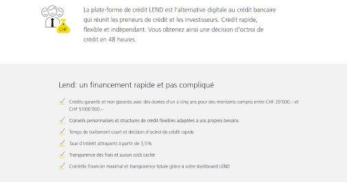 crédit privé Postfinance au meilleurs conditions