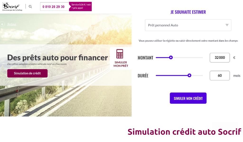 Simulation crédit auto Socrif