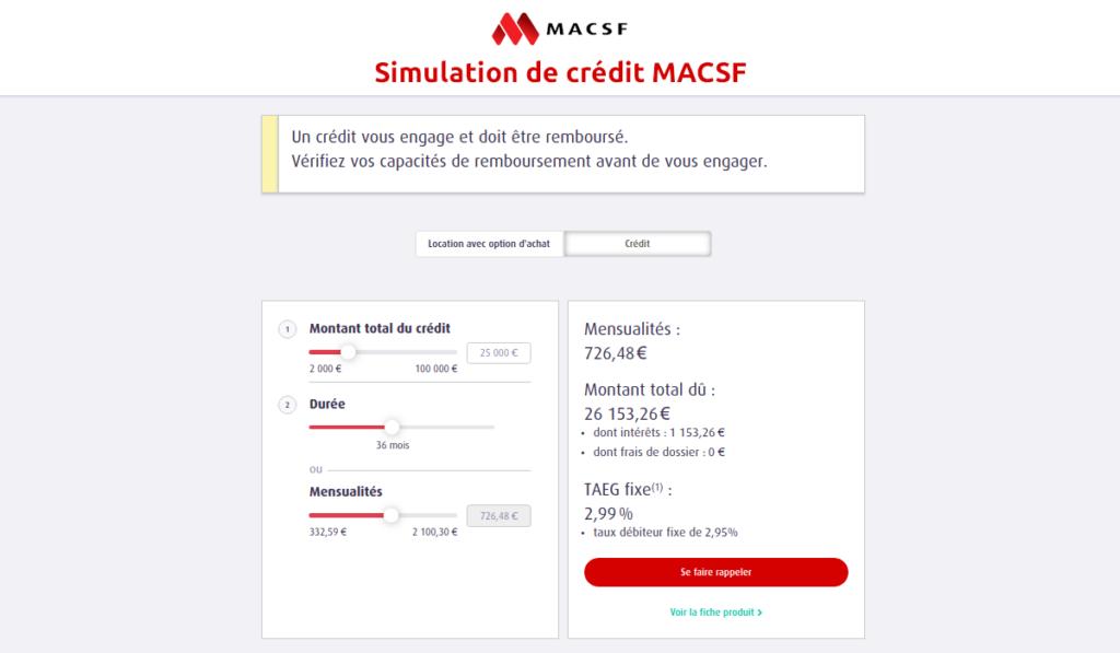 Simulation de crédit MACSF