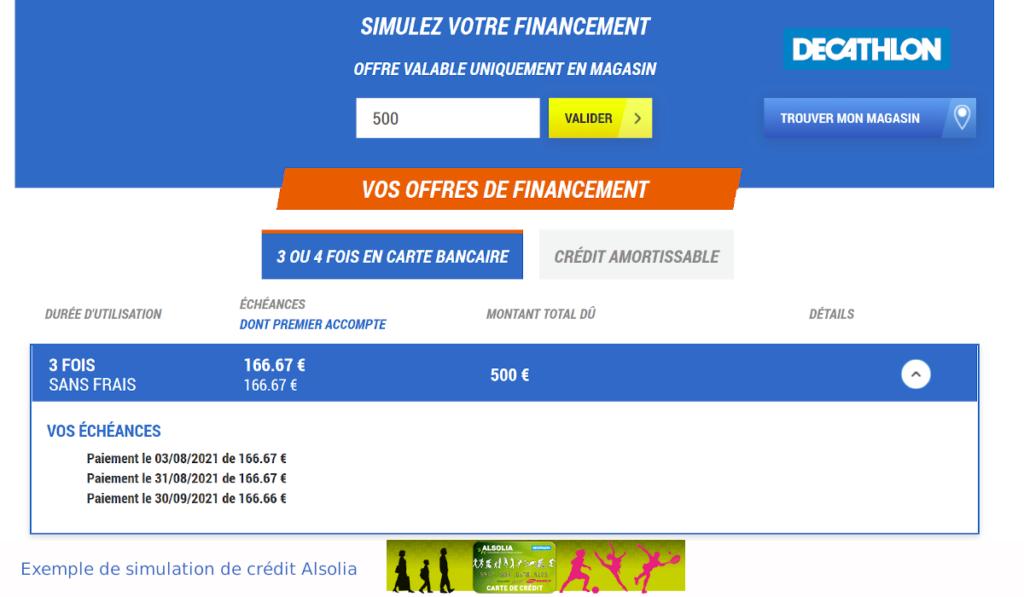 simulation alsolia crédit Décathlon